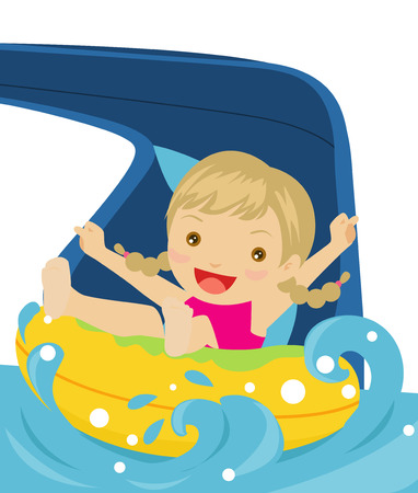pool water: Happy girl playing water slide  Illustration