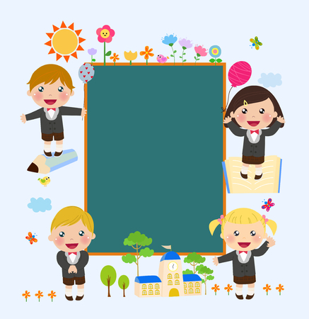 schoolkid: Illustration of school blackboard with children.