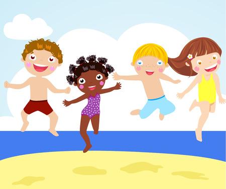 enfant maillot de bain: Enfants sautant sur la plage Illustration