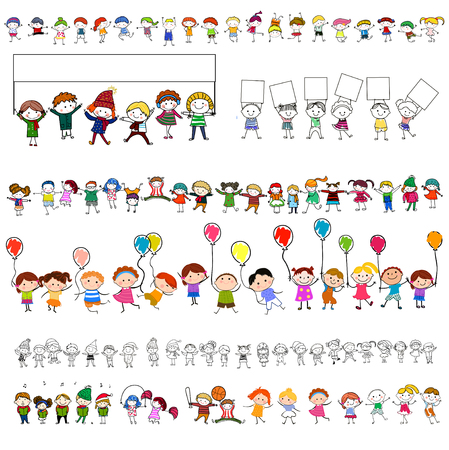 Группа счастливых детей Иллюстрация