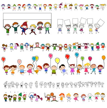 belles jambes: Groupe d'enfants heureux