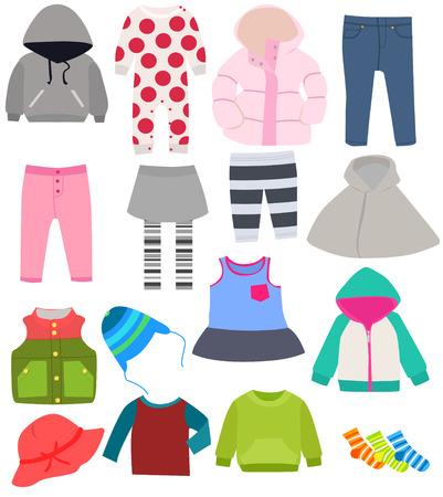 zestaw ubrań dla dzieci Ilustracje wektorowe