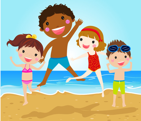child laughing: Kids jumping on beach Illustration