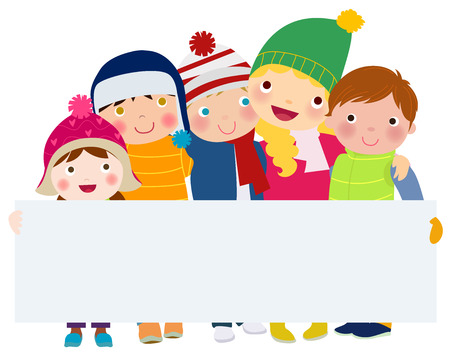 couple fight: Group of children with banner - winter Illustration