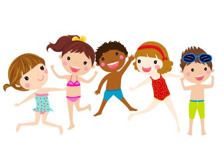 summer kids jumping