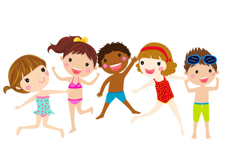 child swimsuit: summer kids jumping