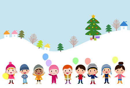 Winter kids with balloons Ilustrace