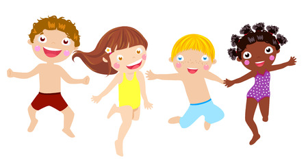 maillot de bain: enfants sautillants