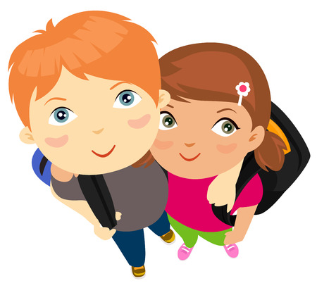cheerfulness: Boy and girl with school bag Illustration