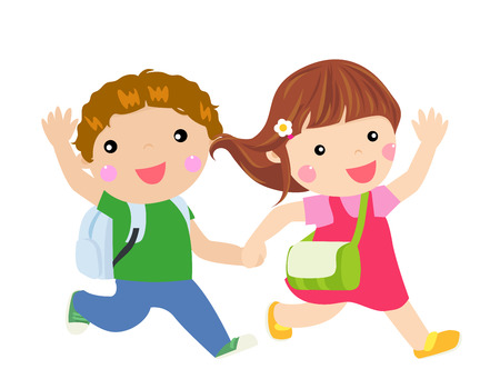 vector artwork: School Kids Running