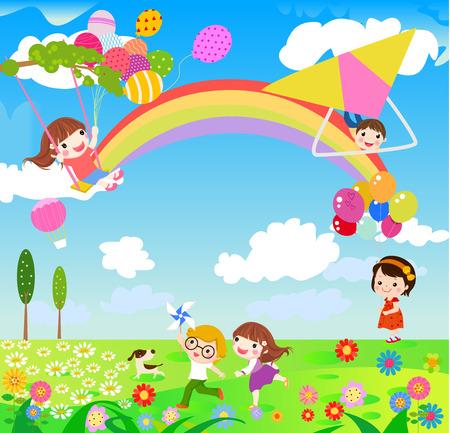 春のシーズン中に楽しんで屋外の子供たちのイラスト