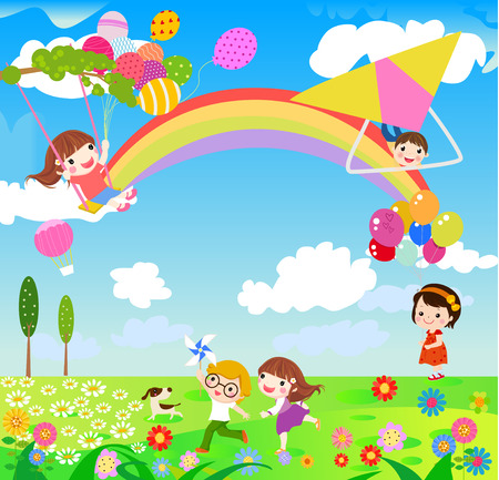 colourful sky: illustration of children having fun playing outdoor during Spring season