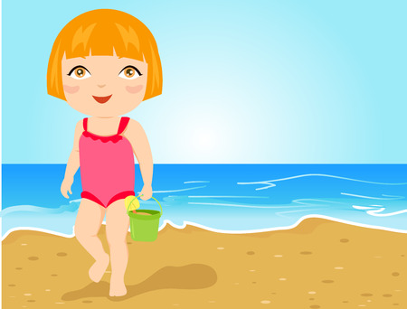 cartoon bathing: Little girl on beach