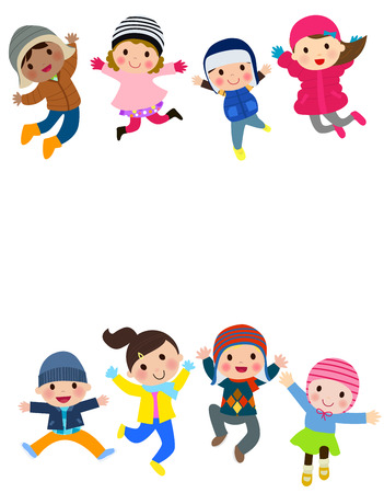 young people fun: Winter kids jumping