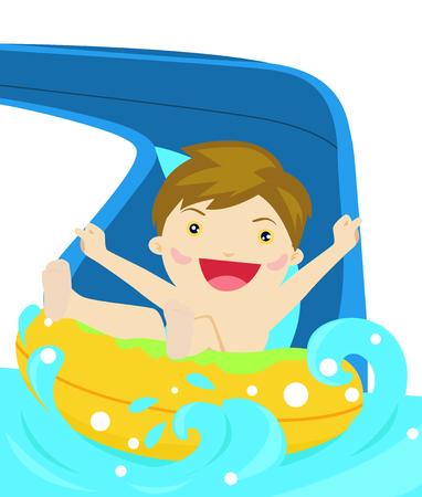 water slide: Happy boy playing water slide Illustration