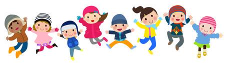 冬の子供のジャンプ