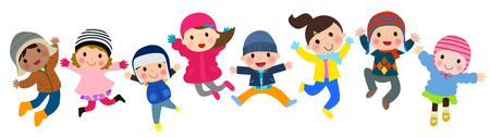 Winter kids jumping