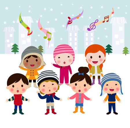 Group of multinational kids singing Christmas Carols, cartoon character illustration