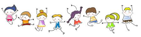 gente che balla: bambini schizzo Vettoriali