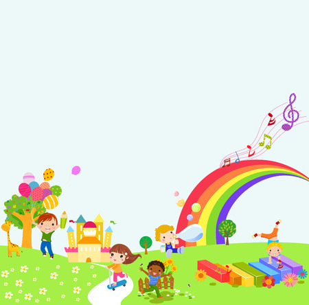 happy kids jumping: kids background