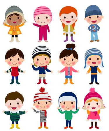 americana: Grupo de niños de invierno