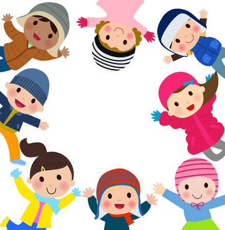 cold: Group of kids in winter clothes