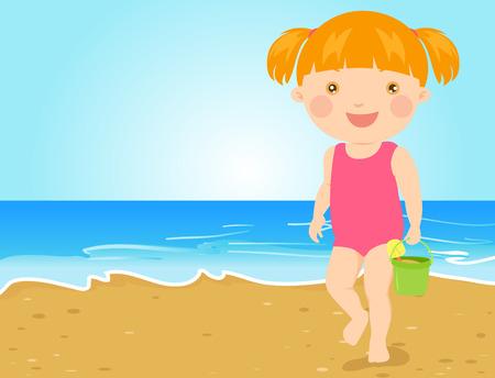 dress up: Cute little girl on beach