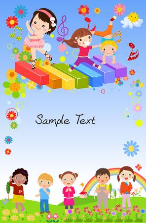 子供の背景  イラスト・ベクター素材