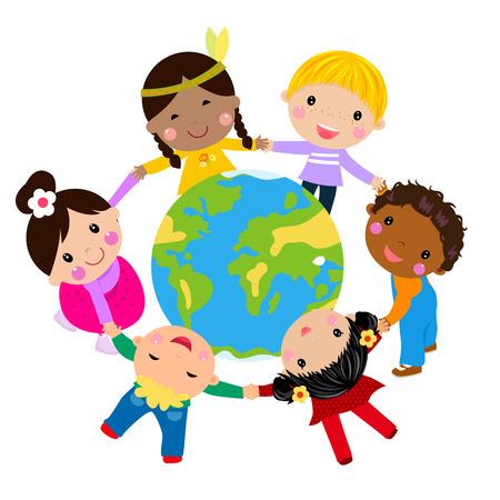 Kids and globe 일러스트