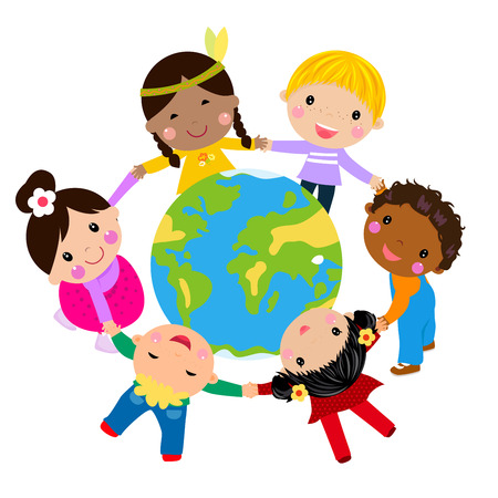 planet earth: Kids and globe Illustration