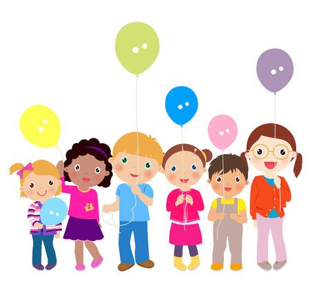 niños jugando: Grupo de niños jugando con globos