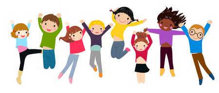 kid vector: Niños saltando