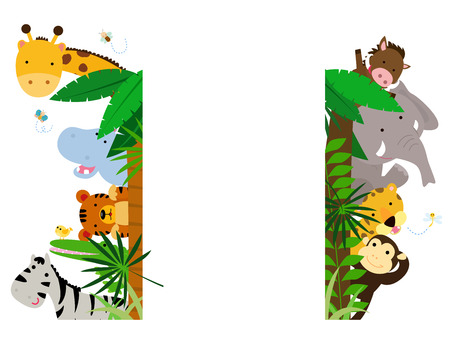 Fun Jungle Animals Border 矢量图像