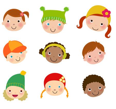 Vector children: Nhóm của trẻ em đối mặt với thiết