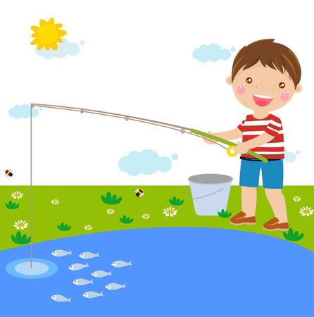 boy fishing 向量圖像