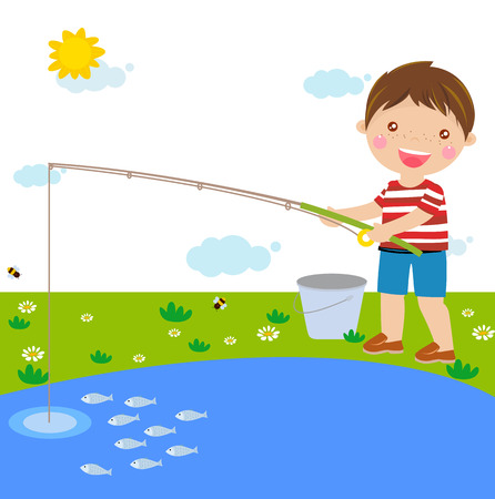 boy fishing Vettoriali