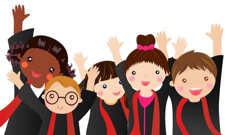 kinder: boys and girls graduate