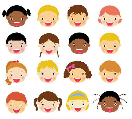 caras felices: Los niños se enfrentan a conjunto