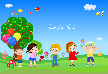 kids having fun: Kids having fun in the park Illustration