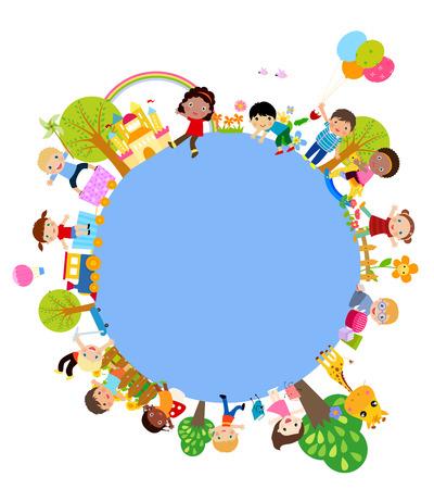 himmel wolken: Kinder und Rahmen Illustration