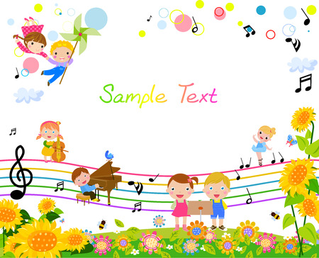 child girl: happy kids with music Illustration