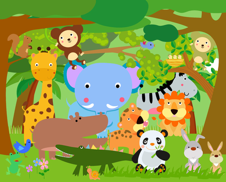 cute cartoon monkey: Fun Jungle Animals