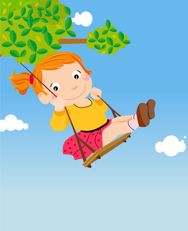 a girl on a swing Illustration