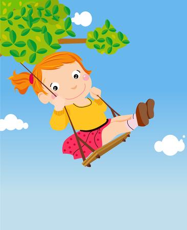 une fille sur une balançoire