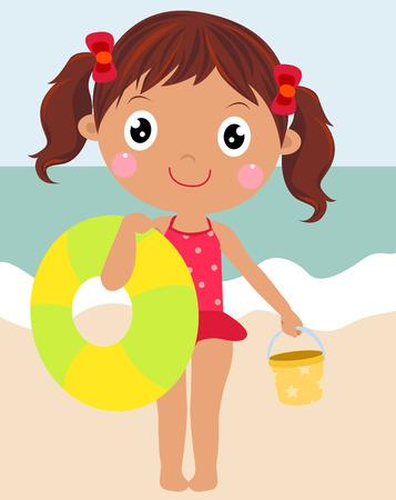 enfant maillot de bain: Cute petite fille sur la plage Illustration