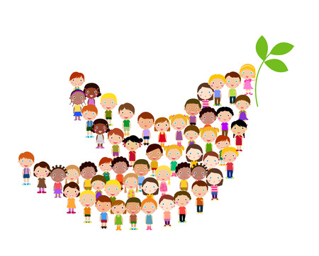 paloma de la paz: Símbolo de la paz - los niños Vectores
