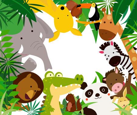 楽しいジャングル動物枠  イラスト・ベクター素材