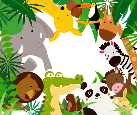 tropical forest: Fun Jungle Animals Border Illustration