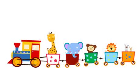 Cute animals on train Ilustração