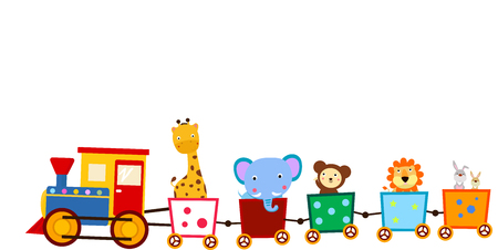 cute animals: Cute animals on train Illustration